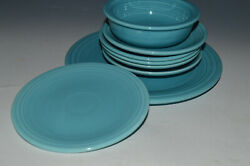 Vintage Fiesta 8 Pc Turquoise Blue Dishes Mcm Solid Color Dinnerware