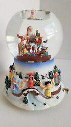 Christmas 2004 Partylite Santa At His Shop Musical Tealight Snow Globe Retired