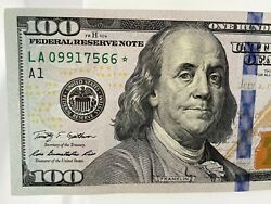 2009-a 100 Star Note Block La 09917566 With A Rare Foreign Chop-marked.