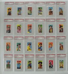 1957 Cws Tobacco Western Stars Complete 24 Card Set, All Psa 8-10