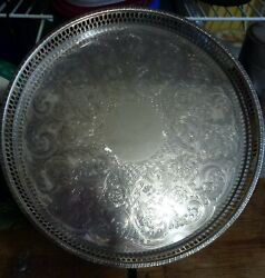 Vintage Quality Viners Silver Plate Epns Round Serving Tray 24 Cm 9 1/2 803