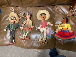 Marionette Puppet Vintage Doll Set Lot Family Mexico Bargain Mexican Wood