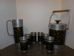 Vtg 9 Pc Aluminum Barware Set Wrapped Coins Print Pitcher Bucket Tumblers Italy