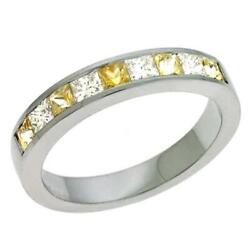 .90ct Diamond And Aaa Yellow Sapphire 14kt White Gold 3d Princess Channel Fun Ring