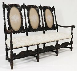 Settee / Sofa Dark Carved Oak Upholstered Bench Antique Style 18-1900and039s