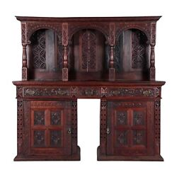 Antique Server, Sideboard, Continental Carved Oak, 19th C., 1800s, Amazing