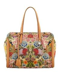 Alexander Mcqueen Mcq Large Skull Padlock Zip Around Tote Tan Floral Embroidery