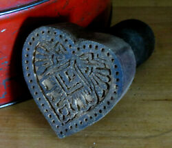Farmhouse Grubby Primitive Wood Valentineand039s Heart W Bow Butter Mold Stamp Press