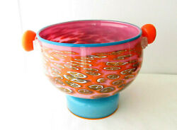 1986 Pinkwater Art Glass Bowl By Schwartz And Swanson Footed And Handles Milefiori