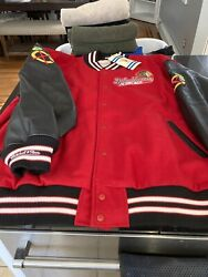 Mens Mitchell And Ness Chicago Blackhawks 1967/68 Wool Leather Jacket 60 4xl Nwt