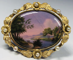 Antique 19th Century Swiss Enamel Landscape In 14k Gold And Pearls Frame