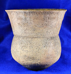 Huge Brushed, Incised Jar Authentic Prehistoric Pottery Artifact