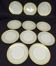 Bing And Grondahl Denmark Set Of 11 Salad Plates Mint Green Band, Gold Embossed
