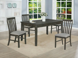 New Modern Rustic Gray 36 X 60 Dining Table With 2 Pull-drawers And Chairs Set