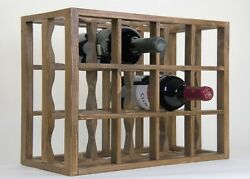 Victoria Wine Rack 12 Bottles Solid Wood Antique Stain/lacquered Countertop