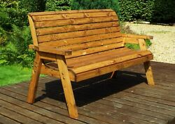 Home Gift Garden 3 Seat Solid Wood Outdoor Bench With Cushions And Cover