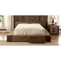 Transitional Style Rustic Natural Tone Finish Queen Size Bed Bedroom Furniture