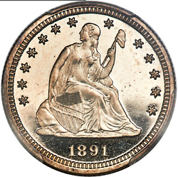 1891 Seated Liberty Quarter Pcgs Pf66cam Spectacular Cameo And Mirror Fields