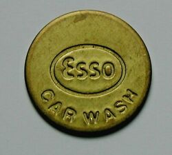 Esso Gas Station Brass Car Wash Token - Uniface - Back Is Blank