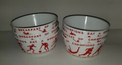 Vintage 1937 Wheaties Breakfast Of Champions Milk Glass Cereal Bowls Set Of 6