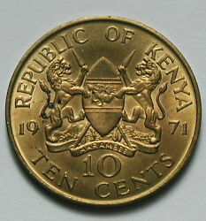 1971 Kenya Coin -10 Cents - Au - Some Mint Lustre And Toning Spots