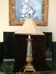 Gold Brass Beige Crackle Glass Table Lamp And Beige Shade Stiffel Style