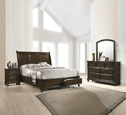 New Queen Or King 4pc Traditional Brown Sleigh Bed Dresser Mirror Nightstand Set