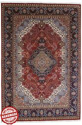 Hand Knotted Rugs 6x9 Ft Red And039chandramanand039 Handmade Wool Medallion Area Carpet