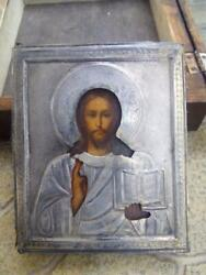 19th Almighty Antique Imperial Russian Sterling Silver 84 Christian Icon Oil