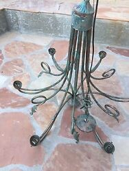 Vintage Antique Copper Chandelier With Leaf's And Vines , Nice Patina 4 Collectors
