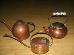 Vintage Antique Can Usa Metal Brass Copper Gas Oil Cans Kettle 3