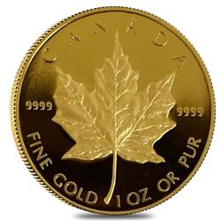 1989 1 Oz Canadian Proof Gold Maple Leaf 50 Coin In Cap