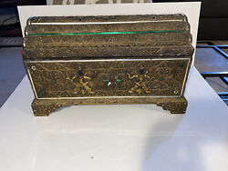 Wooden Hand Carved Jewelry Box Treasure Chest Vintage Tibetan