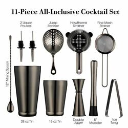 Cocktail Shaker Set 2 Weighted Boston Strainer Jigger Muddler Spoon Ice Tong