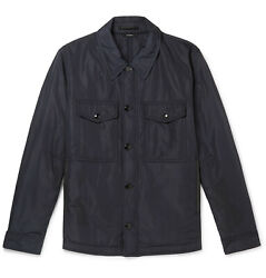 3500 Tom Ford Shell Field Shirt Jacket Navy Tfo356bt062 Padded It46 Small