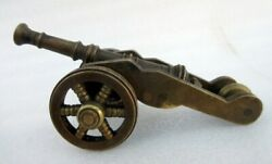 Vintage Old Rare Hand Crafted Solid Brass Home Decorative Small Cannon On Wheels