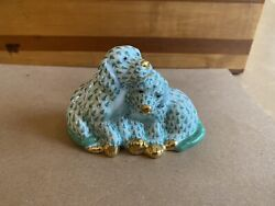 Herend Pair Of Puppies Green Fishnet Gold Accents 15827 Usa Golden Anniv. 2007