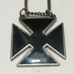 Knights Of Columbus Solid Black Cross Silvertone Pendant Necklace Chain 1 Wide