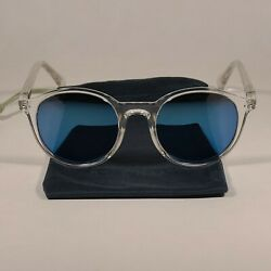 Cole Haan Round Polarized Sunglasses Crystal Frame Blue Flash Mirror Lens Ch9003