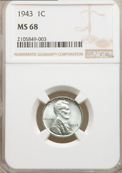 1943 Lincoln Wheat Cent Steel Penny 1c Coin 1943-p - Ngc Ms68 - 2,200 Value