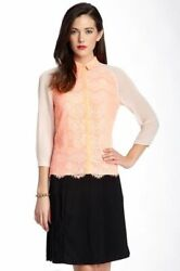 Ted Baker Orange Floral Lace Sheer Sleeve Collar Dress Shirt Blouse Top 2 10 S
