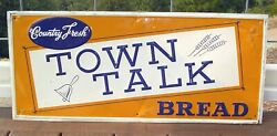 """Vintage 1956 Town Talk Bread Embossed Tin Sign 27-1/2"""""""
