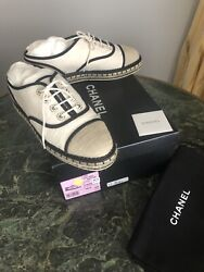 Auth. Beige Canvas Lace Up Pearls Cc Espadrille Oxfords Sneakers 39.5mint