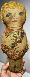 Early 12andrdquo Antique Cloth Stuffed Blonde Hair Girl Doll Stuffed Beads Fantastic