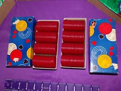 Set 2 Boxes Of Red Poker Chips Thesco Paper Horse-shoe Vintage Milw. Wi