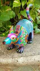 Pp1943 Oaxacan Wood Carving Hand Made Armadillo By Luis Sosa .
