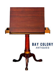 20th C Queen Anne Antique Style Mahogany Drafting Table / Dictionary Stand