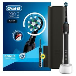 Oral-b Pro 2 2500 Black Edition 3d Electric T/brush + Travel Casespecial Offer
