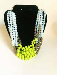 Vintage Cluster Beaded Necklace Lime Green Lucite Beads Silvertone Texture Brass