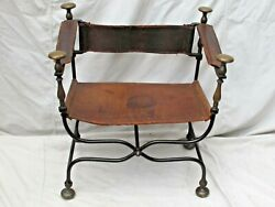 Antique19th Century Italian Iron And Brass Savonarola Chair Leather Back And Seat